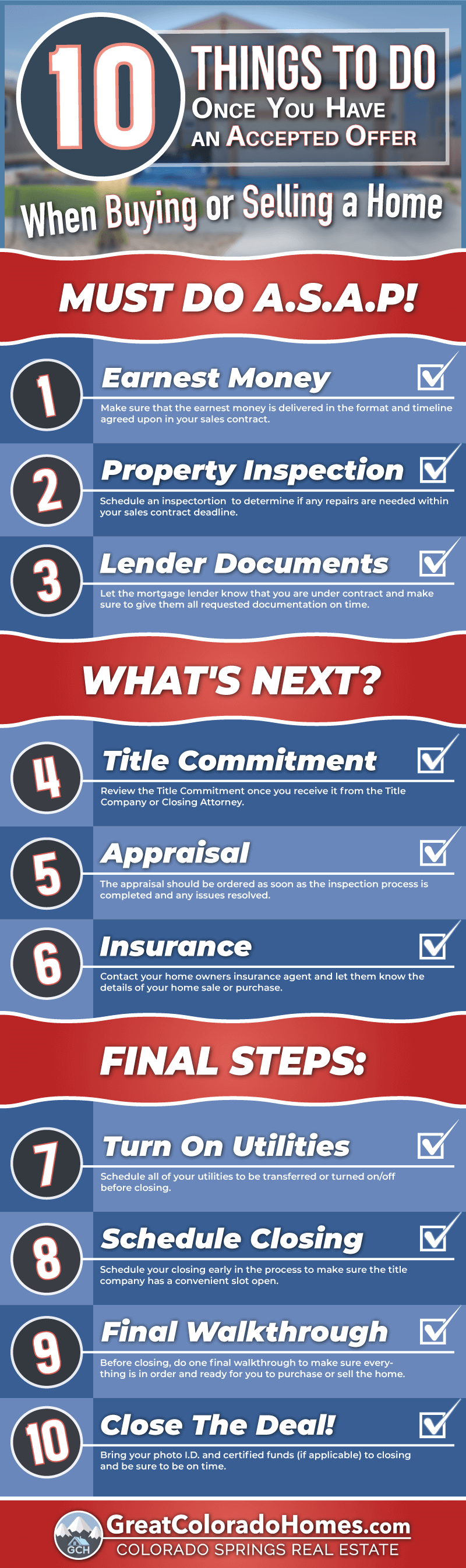 10 Things to Do Once Your Offer is Accepted When Buying or Selling A Home Infographic