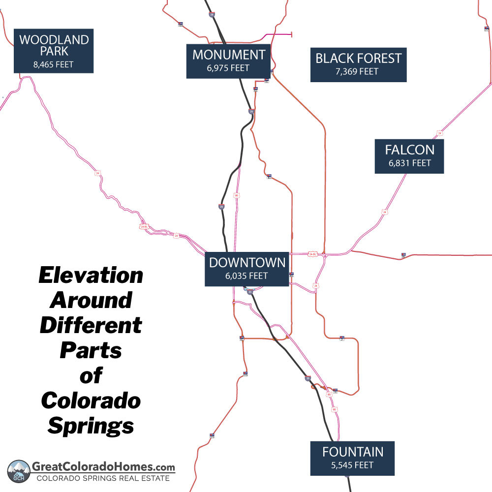 Map of Elevation Changes Around Colorado Springs