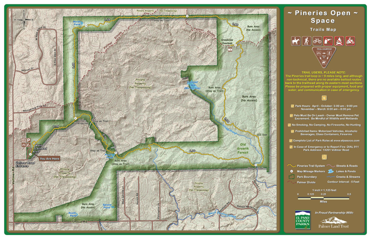 Pineries Open Space Trailhead Map