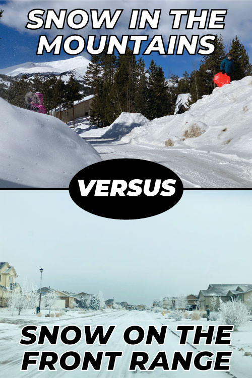 Snow in the mountains versus snow in the front range