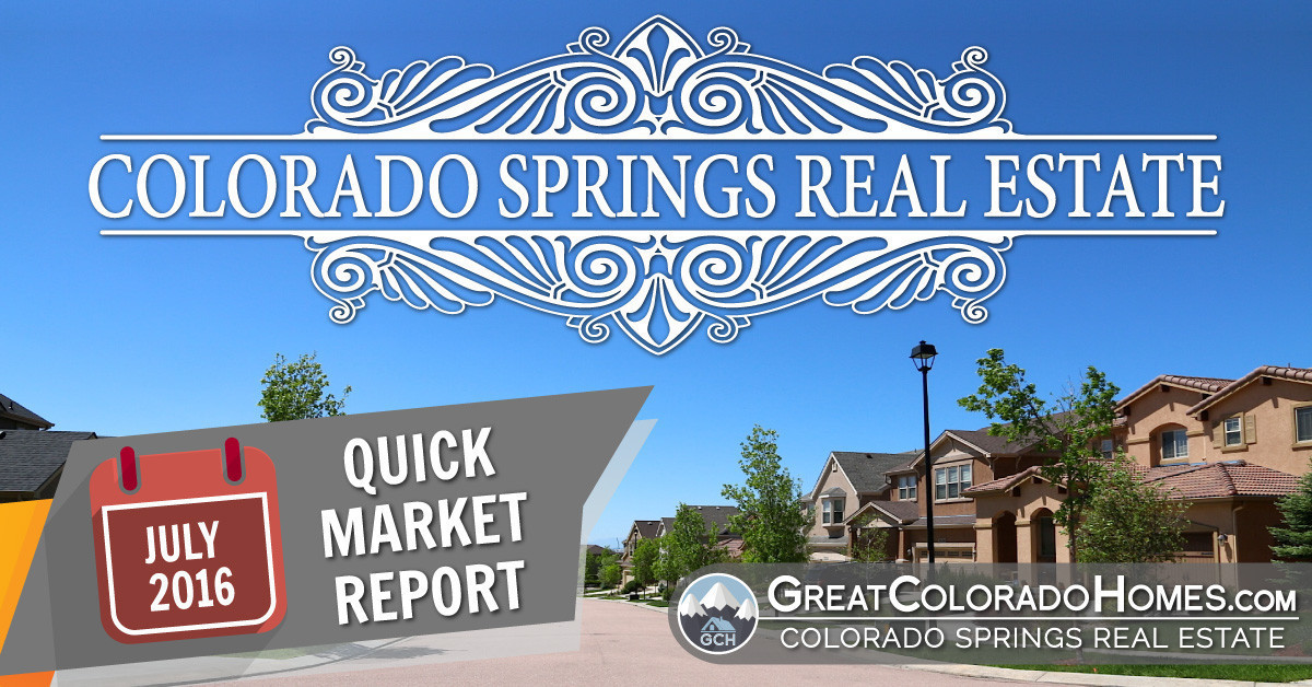 July 2016 Colorado Springs Real Estate Statistics for July 2016