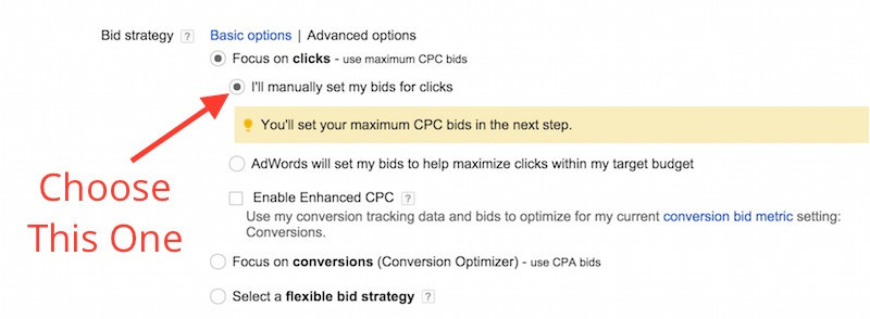 Choose Manually Set Clicks