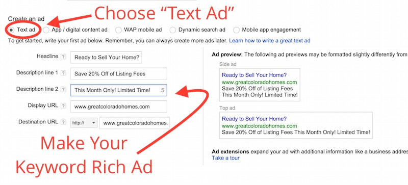 Make Your Keyword Rich Ad